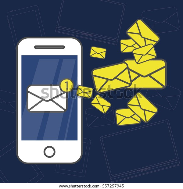 Sms Messages On Phone New Message Stock Vector (Royalty Free) 557257945