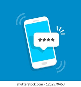 SMS notification with a password. Authorization technology. Vector illustration in flat style.