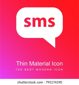 Sms red and pink gradient material white icon minimal design