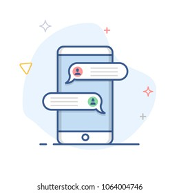 Sms speech bubbles on mobile phone screen, chat messages notification on smartphone vector line illustration
