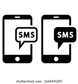 SMS vector icon. message illustration sign. mobile phone symbol.