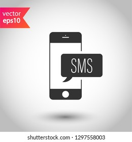SMS vector icon. Mobile phone  SMS vector sign. Bubble chat SMS symbol. EPS 10
