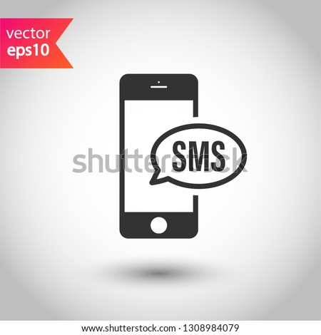 SMS Vector Icon Mobile Phone SMS Stock Vector (Royalty Free