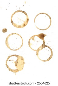Smudged coffee rings and spills on pure white paper. A rushed morning tea break mess. Vector EPS.