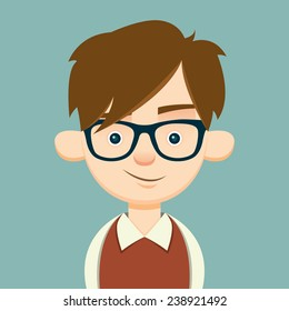 smug young hipster. vector illustration. eps10