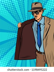 Smuggler is selling illegally on black market. Cloak-seller. Dealer in hat and coat . Bootlegger. Vector illustration in pop art retro comic style.