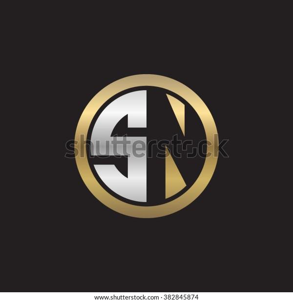 SN initial letters circle elegant logo golden silver black background