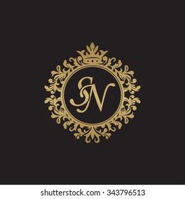 SN initial luxury ornament monogram logo