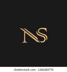 SN or NS logo vector. Initial letter logo, golden text on black background