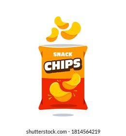 snack chips bag plastic packaging design illustration icon for food and beverage business, potato snack branding element logo vector.
