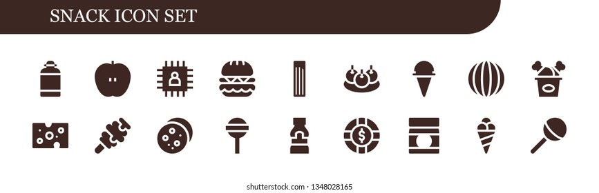 snack icon set. 18 filled snack icons.  Collection Of - Canteen, Apple, Chip, Burger, Churros, Bitterballen, Ice cream, Candy, Fried chicken, Cheese, Cookie, Lollipop, Mustard