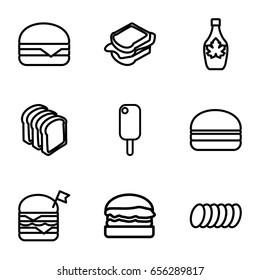 Snack icons set. set of 9 snack outline icons such as maple syrup, sandwich, bread slices, double burger with flag, cheeseburger, burger, cookie