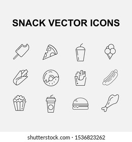 Snack line icons set. Modern outline elements, graphic design concepts, simple symbols collection. Vector line icons