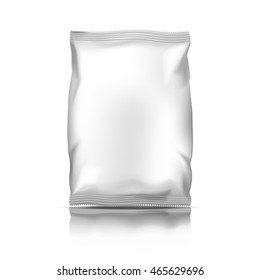 Snack plastic pack or silver packaging. Foil food pack polythene container package vector illustration