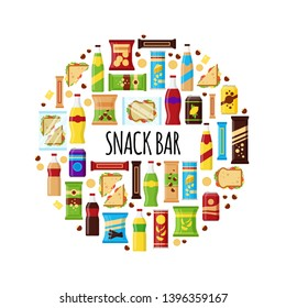 Snack product in circle. Fast food snacks, drinks, nuts, chips, cracker, juice, sandwich for snack bar isolated on white background. Flat illustration in vector