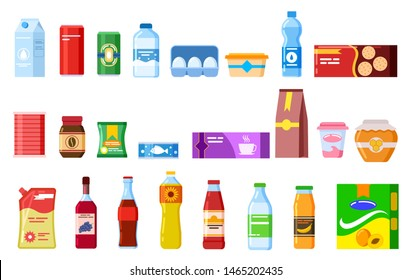 Snack products. Biscuit water juice biscuits cola ketchup yogurt coffee soup. Packed cooking product flat vector isolated icons set. Illustration of package and bottle, product sweets and snack