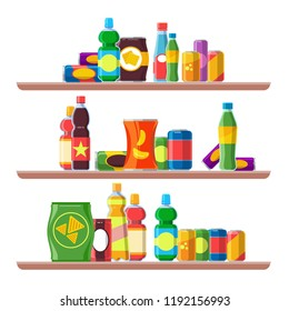 snack products shelves. foods for vending machine. cold drinks, cola, soda unhealthy package of chips, biscuits and crackers, chocolate candy bars, store merchandise. concept vector flat background.