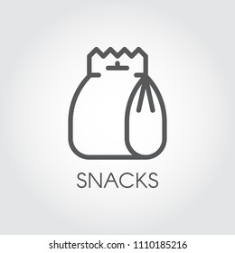 Snack thin line icon. Package with lunch, fast food, chips or other product concept label. Outline pictograph. Vector illustration for cooking theme
