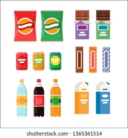 Snacking products set: chips, muesli bar, cookies, soda, juice, nuts. Packet, bag, box, doy pack, bottles, cans, sachet. Fast food vector illustration. Drinks