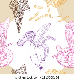 Snacks and desserts retro style seamless pattern: milk shake, ice cream, banana, french fries. Line art, chocolate, pink, orange, beige, purple colors. Hand drawn sketchy vector illustration.