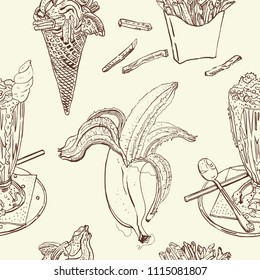 Snacks and desserts vintage seamless pattern: milk shake, ice cream, banana, french fries. Chocolate brown, beige. Hand drawn sketchy vector illustration. Cafe, coffee shop design, textile print.