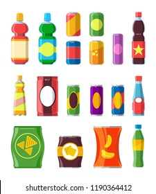 Snacks drinks set. Chips, crisps, chocolate product, biscuit, container soda, merchandise vector set isolated.