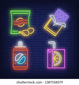 Snacks and drinks for vendor machine neon signs set. Takeaway food, meal, snack design. Night bright neon sign, colorful billboard, light banner. Vector illustration in neon style.