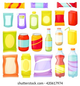 Snacks packing set: packet, bag, box, doy pack, bottles, cans, sachet. Fast food vector illustration. Snack and drinks set. Chip, bar, cookie, soda, juice