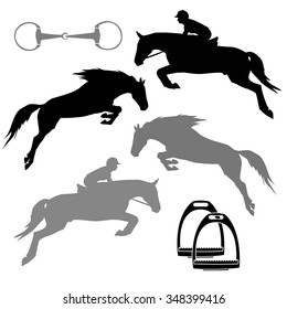 snaffle stirrup jumping horse riding silhouette set