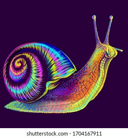 Snail. Abstract, multi-colored, neon portrait of a grape snail on a dark purple background in the style of pop art.