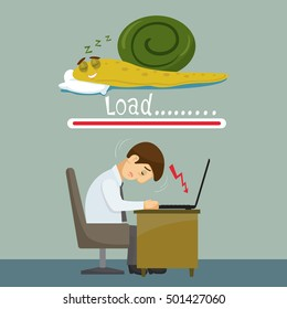 Snail business and slow internet computer, vector illustration cartoon