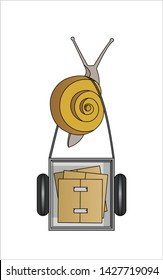 Snail Carries A Cart with Boxes, Top view. Slow Delivery. Symbol of Slowness. Modern flat Vector illustration on white background.