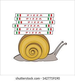 Snail Carries Pizza Boxes, Side view. Slow Pizza Delivery. Symbol of Slowness. Modern flat Vector illustration on white background.