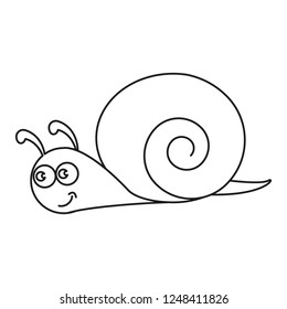 A snail, a cochlea,a helix of icon black on the white background
