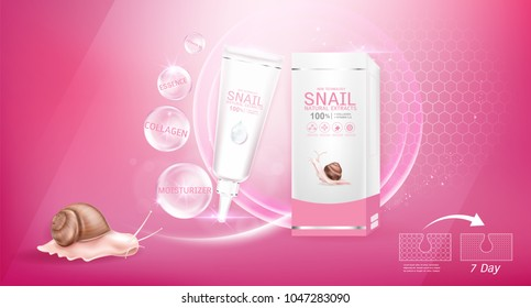 Snail Collagen or Serum and Vitamins Template on Pink Background for Cosmetic Packaging Design.