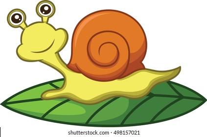 Snail Crawling on Leaf Cartoon Illustration