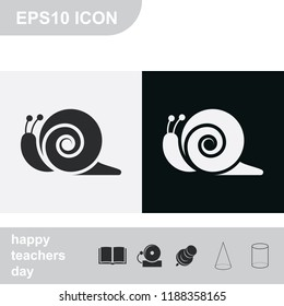 Snail flat black and white vector icon.