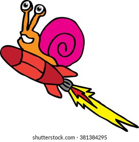 snail flying with rocket