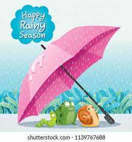 Snail, Frog And Worm Under Umbrella On Ground Together In The Rain, Monsoon, Rainy Day, Season, Raindrop, Animal, Natural, Soaked