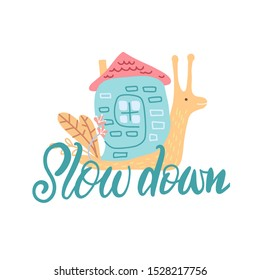Snail with his house. Hand drawn doodle childish concept. Hand drawn graphic for typography poster, card, label, flyer, page, banner, baby wear, nursery. Scandinavian style