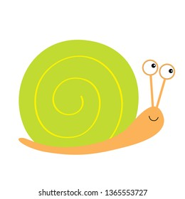 Snail icon. Green shell. Cute cartoon kawaii funny character. Big eyes. Smiling face. Insect isolated. Flat design. Baby clip art. White background. Vector illustration