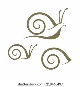 Snail. Icon set. Isolated isnails on white background
