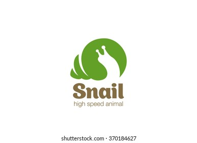 Snail Logo abstract design vector template Negative space style. Wild animal zoo Logotype slow concept icon.