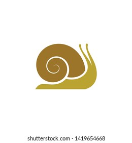 Snail. Logo. Vector illustration. Garden snail on white background