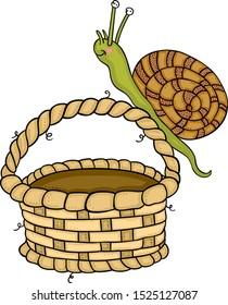 Snail on top of empty basket
