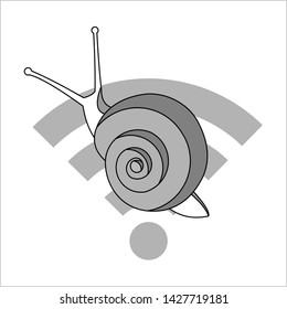 Snail On The Wi-Fi Sign. Slow Internet Speed. Symbol of Slowness. Modern flat Vector illustration on white background.