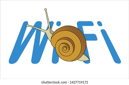 Snail On The Word Wi-Fi. Slow Internet Speed. Symbol of Slowness. Modern flat Vector illustration on white background.
