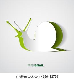 Snail papercut vector illustration