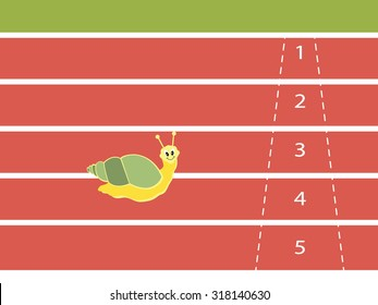 Snail running on red rubber track, vector illustration.