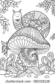 Snail sitting on beautiful mushroom for T-Shirt design, tattoo and adult coloring book page. Stock vector